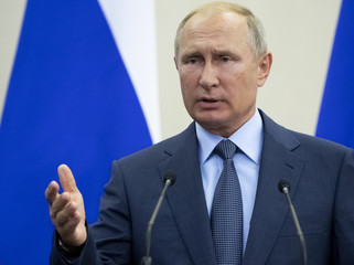 Russian President Putin speaks during a joint news conference with his Finnish counterpart Niinisto following their meeting at the Bocharov Ruchei state residence in Sochi