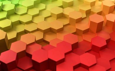 3D Hexagone Farbverlauf rot grün