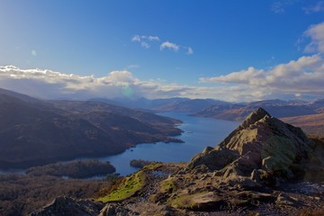 View Over a Scottish Loch and Valley From the Top of a Mountain