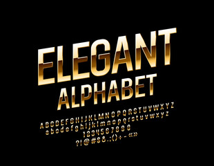 Vector Golden Alphabet. Rotated Chic Font. Elegant Letters, Numbers and Symbols