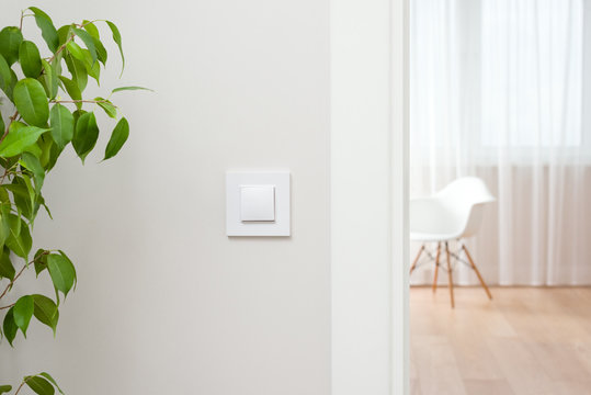 The wall switch is in the bright, contemporary interior. Open the door to the room