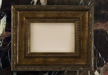 Gold Antique Frame Mockup on Marble