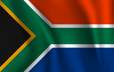 Flag of South Africa. Realistic waving flag of Republic of South Africa. Fabric textured flowing flag of South Africa.