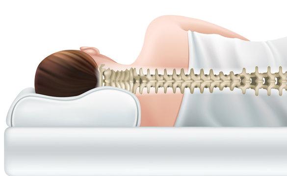 Correct sleeping position. Realistic vector illustration.