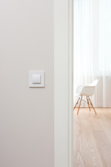Wall switch in light minimalist interior. Modern, beautiful, clean apartment in the background.