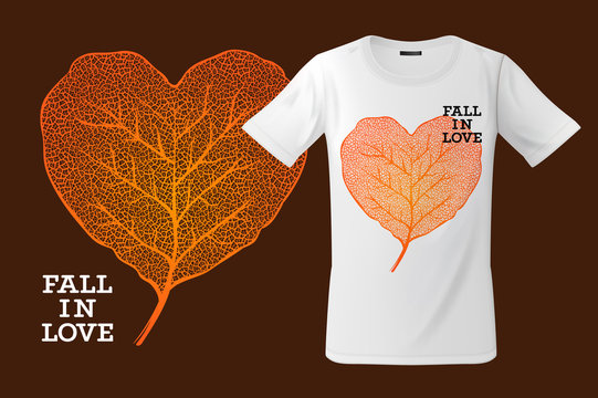 Fall in love. Print on T-shirt, sweatshirts and souvenirs and other uses, vector illustration.