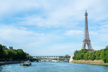 PARIS, France - JUNE 23, 2018 : the Eiffel Tower on Summer, 2018 in Paris. Eiffel tower is the most popular travel place and global cultural icon of the France and the world.