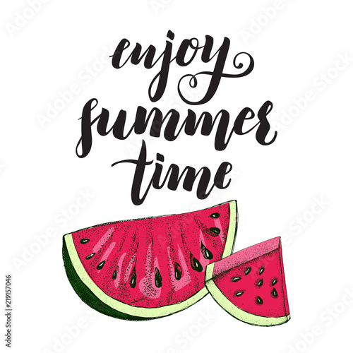 background with ink hand drawn slices of watermelon template for
