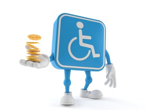 Handicapped character with stack of coins