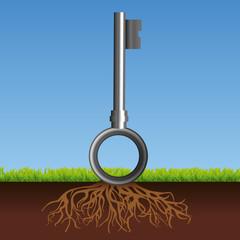 concept du résultat d'un brainstorming, trouver une idée ou une solution symbolisé par une clé.