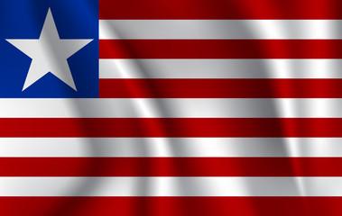 Flag of Liberia. Realistic waving flag of Republic of Liberia. Fabric textured flowing flag of Liberia.
