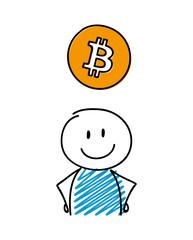 Smiley stickman showing bitcoin icon. Vector.