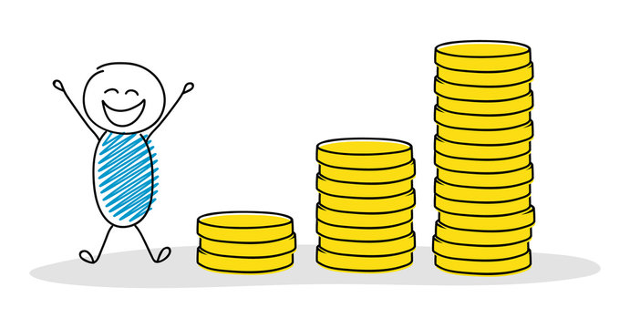 Hand drawn cartoon character with money graph. Vector.