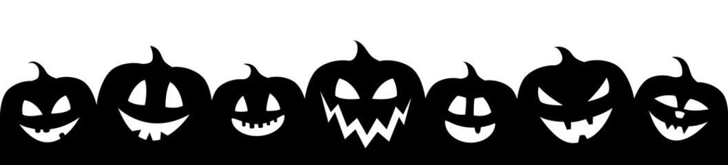 Foto op Canvas Halloween Halloween banner with funny silhouettes of pumpkins. Vector.