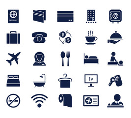 hotel glyph icon set , designed for web and app