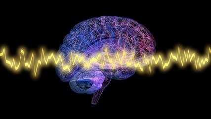 Brainwaves in front of glowing brain. 3d render wire frame model
