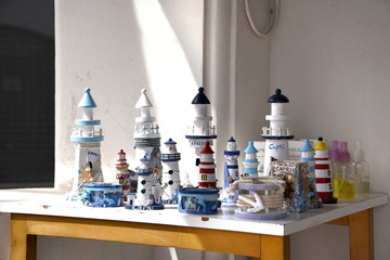 Collection of Lighthouses in the street in Anacapri on the isle of Capri in the Bay of Naples