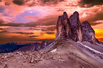 Sunset at Tre Cime di Lavaredo National Park. Drei Zinnen, Trentino Alto Adige, South Tirol, Dolomites mountains, Italy