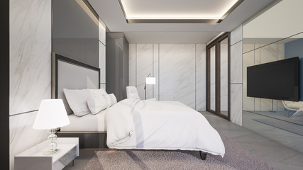 Luxury master bedroom with marble tiles wall , 3d rendering