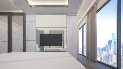 Luxury bedroom in the penthouses room with cityscape , 3d rendering