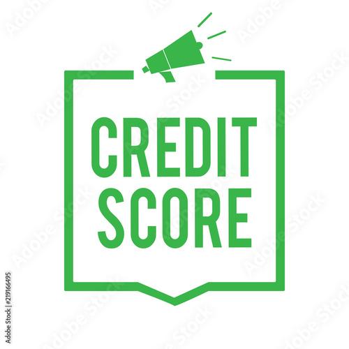 Writing note showing Credit Score. Business photo showcasing ...