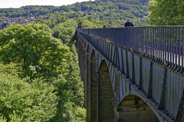 View of Pontcysyllte Aqueduct, the highest in the world, which carries the Llangollen Canal across the River Dee in northeast Wales, United Kingdom