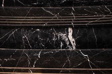 Black marble stair pattern. Closeup details