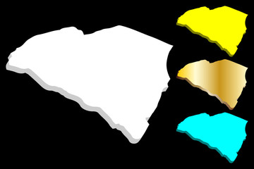 3D map of South Carolina (United States of America, The Palmetto State) - white, yellow, blue and gold - vector illustration