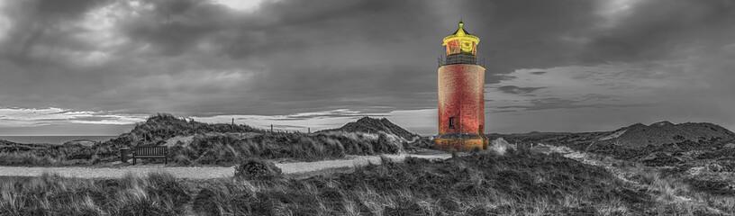 Fototapete - Leuchtturm Kampen Sylt Panorama