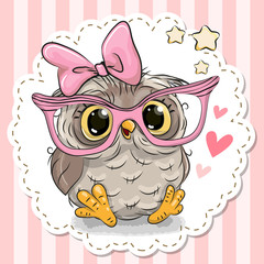 Cute owl in pink eyeglasses