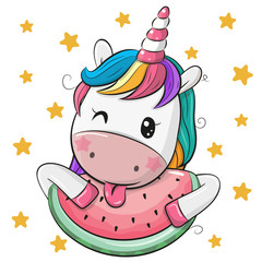 Cute Cartoon Unicorn with watermelon