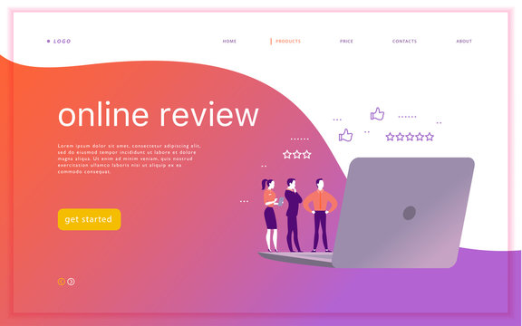 Vector web page concept design with online review theme. Office people stand watching on mobile device screen - laptop, tablet. Thumb up, stars line icons. Landing page, mobile app, UI, UX, site.