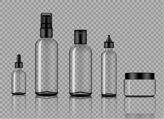 Mock up Realistic Glossy Transparent Glass Cosmetic Soap, Shampoo, Cream, Oil Dropper and Spray Bottles Set With Black Cap for Skincare Product Background Illustration
