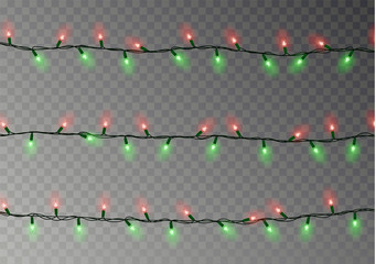 Christmas lights string isolated. Realistic garland decoration. Festive design elements. Glowing lig