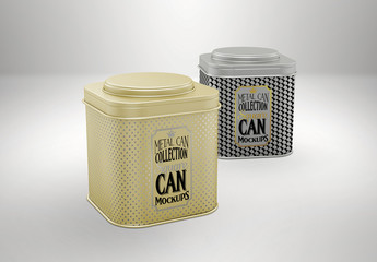 Two Square Tea Tin Cans Mockup