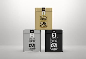 Three Square Tin Cans Mockup