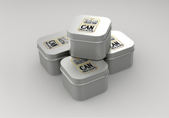 Four Small Square Tin Cans Mockup