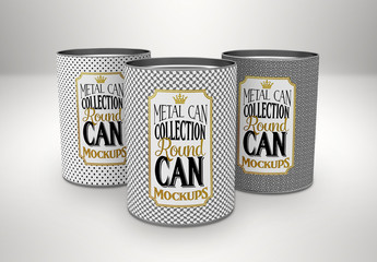 Three Tube Tin Cans Mockup