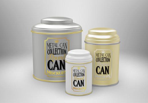 Three Round Tea Tin Cans Mockup