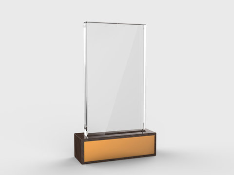 Blank glass trophy mock up stand on wooden base.