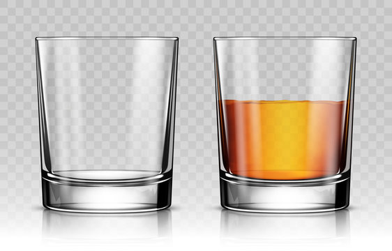 Empty and full whiskey glass