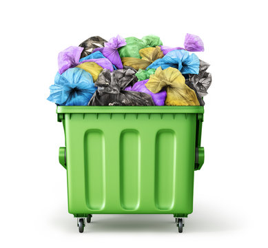 Trash container full of garbage bags isolated on a white background