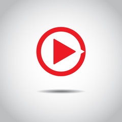 Red button video player. Social media. Flat Social Media Background Sign Download. Vector Logo