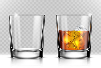 Glass of scotch whiskey and ice on transparent background Fototapete