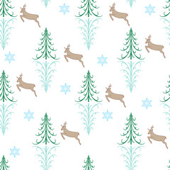 Color christmas tree and deer seamless pattern. Fashion graphic background design. Modern stylish abstract texture. Colorful template for prints, textiles, holiday, wallpaper. Vector illustration.