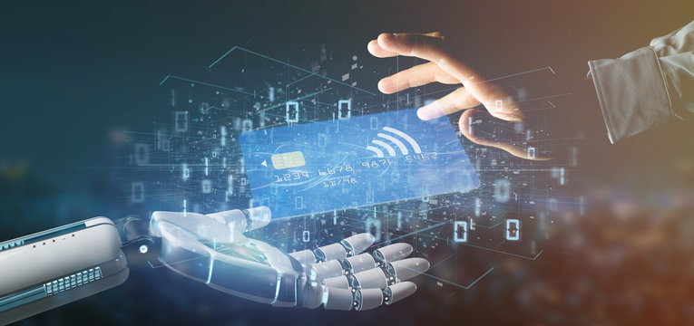 Cyborg hand holding a Contactless credit card payment concept 3d rendering