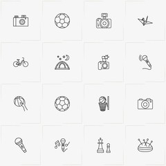 Hobbies line icon set with chess , camping and needle case