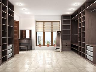 Modern luxury dressing room, wardrobe, 3d visualization.