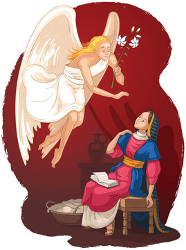 The Annunciation. Angel Gabriel announcement to Mary of the incarnation of Jesus