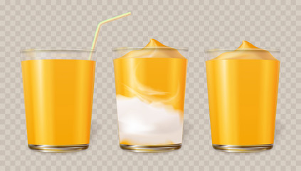 Mango smoothie in cup. A set cup of glass with juice, smoothie and ice cream from fruit of orange color. Realistic vector illustration.